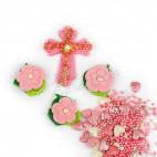 """Набор """"Пасхальный хрестик с цветочками и посыпкой"""""""
