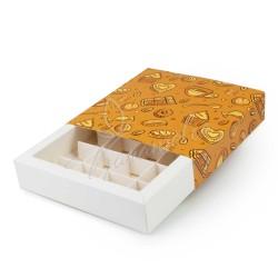 Коробка для 16 конфет, фон темный, 185 * 185 * 42