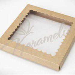 Коробка для пряников с окном, крафт, 210 * 210 * 30