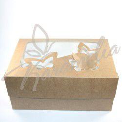 "Коробка на 6 кексов с окошком ""Бабочка"", крафт 250*170*110"