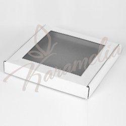 Коробка для пряников с окном, белая, 210 * 210 * 30
