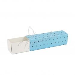 Коробка для макаронс на 7 шт голубой горошек 195*50*50