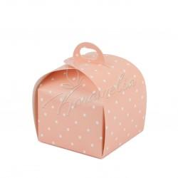 Коробка Лепесток, Розовый горошек 110*110*110