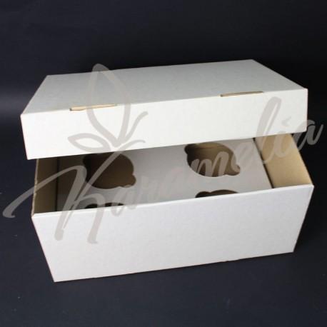 Коробка на 4 кекса без окна, белая 250 * 170 * 110