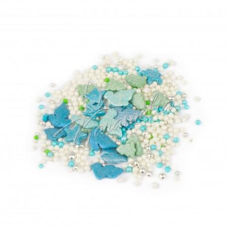 Перламутровый Микс №13 (голуби, белые и голубые шарики), в прозрачном пакете