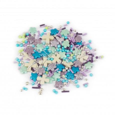 Перламутровый микс №5 (крестики, синие шарики) в прозрачном пакете