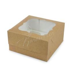 Коробка на 4 кекса с окном крафт, 170*170*90