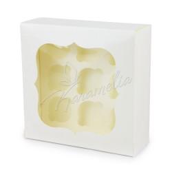 Коробка на 9 кексов с окошком молочная, 250 * 250 * 90