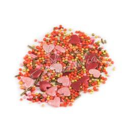 Перламутровый Микс № 21 (сердечки, золото) в прозрачном пакете
