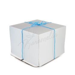 Упаковка для тортов белая-металлик, 26 *26 *20 с веревкой