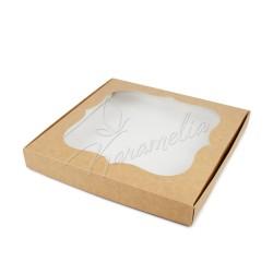 Коробка для пряников с окном, крафт, 200*200*30