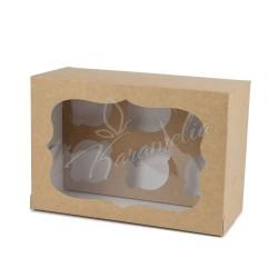 Коробка на 6 кексов с окошком, крафт, 250*170*110