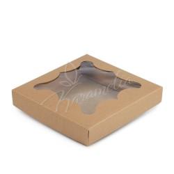 Коробка для пряников с окном, бурая 155*155*30
