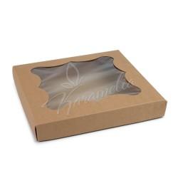 Коробка для пряников с окном, бурая 200 * 200 * 30