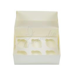 Коробка на 6 кексов без окна, молочная 250 * 170 * 110