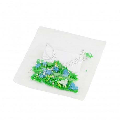 Перламутровый Микс №15 (голуби, елки, шарики зеленые, серебряные) в прозрачном пакете