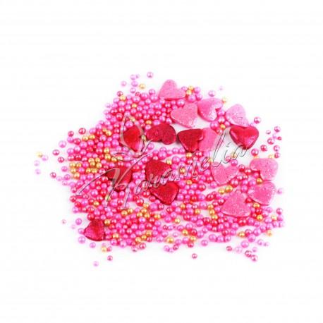 Перламутровый микс №20 (красные сердечки, шарики) в прозрачном пакете