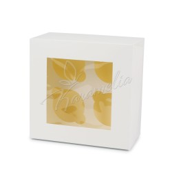 Коробка на 4 кекса с окном, белая 170 * 170 * 90