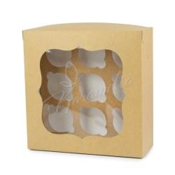 Коробка на 9 кексов с окном крафт/белый, 250 * 250 * 90