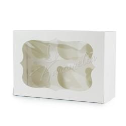 Коробка на 6 кексов с окошком, белая, 250 * 170 * 110