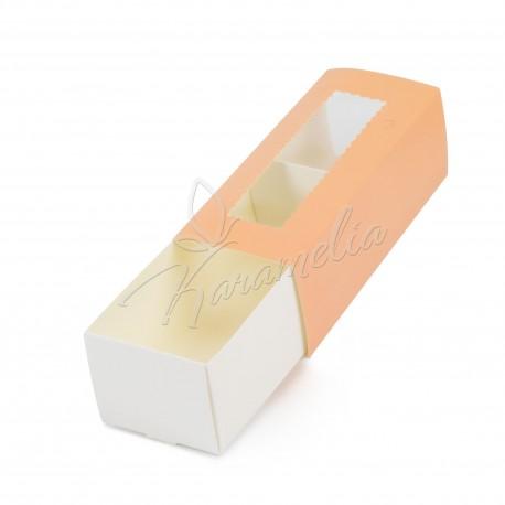 Коробка для макаронс персиковая, 141 * 59 * 49