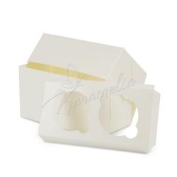 Коробка на 2 кекса с окошком молочная, 170*85*90