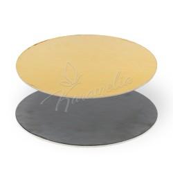 Подложка золотая/черная, круглая, d 30 см h 3 мм