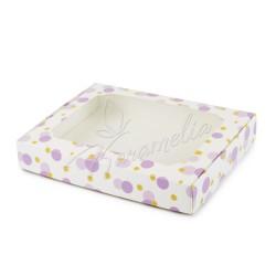 Коробка для пряников с окном фиолетовый горох, 150 * 200 * 30