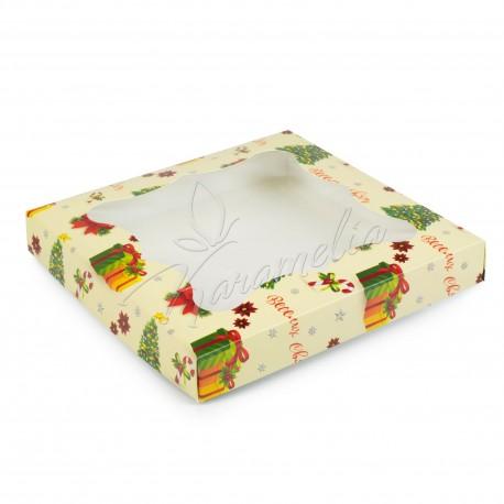 """Коробка для пряников с окном """"Елочка"""" 200 * 200 * 30"""
