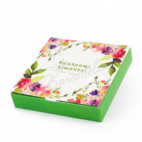 """Коробка для 9 конфет """"Акварельные цветы"""""""