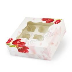 Коробка на 9 кексов с окном, Тюльпан, 260 * 260 * 90