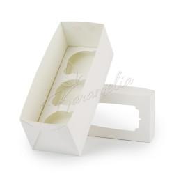 Коробка на 3 кекса с окном, белая, 230 * 90 * 90