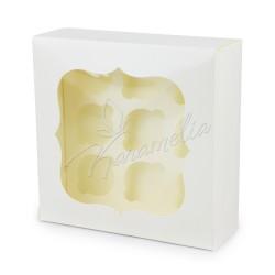 Коробка на 9 кексов с окошком белая, 250 * 250 * 90