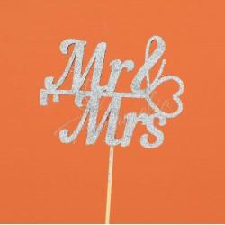 """Топпер """"Mr Mrs"""" серебро"""