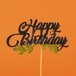 """Топпер """"Happy birthday"""" с золотой веточкой"""