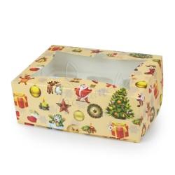 """Коробка на 6 кексов с окошком """"Новогодняя"""" 180 * 240 * 90"""