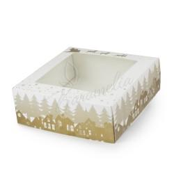 """Коробка для зефира с окошком """"Олени"""" 200 * 200 * 70"""
