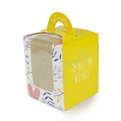 Коробка на 1 кекс, 82 * 82 * 100 желтая