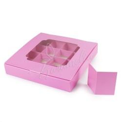 Коробка для 16 конфет с окошком розового цвета 185 х 185 х 30