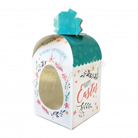 """Упаковка для кулича картонная """"Заяц синий"""" 110 * 110 * 140"""