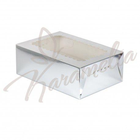 Коробка на 6 кексов с окошком, серебро, 250 * 170 * 80