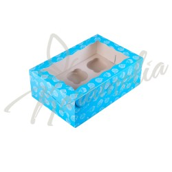 Коробка на 6 кексов голубая