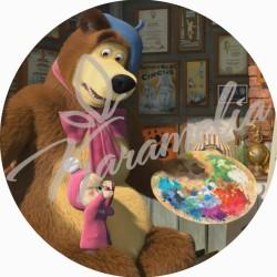 """Вафельная картинка """"Маша и медведь"""", d 21 см"""